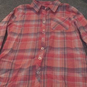 Coral justice size 8 plaid button-down